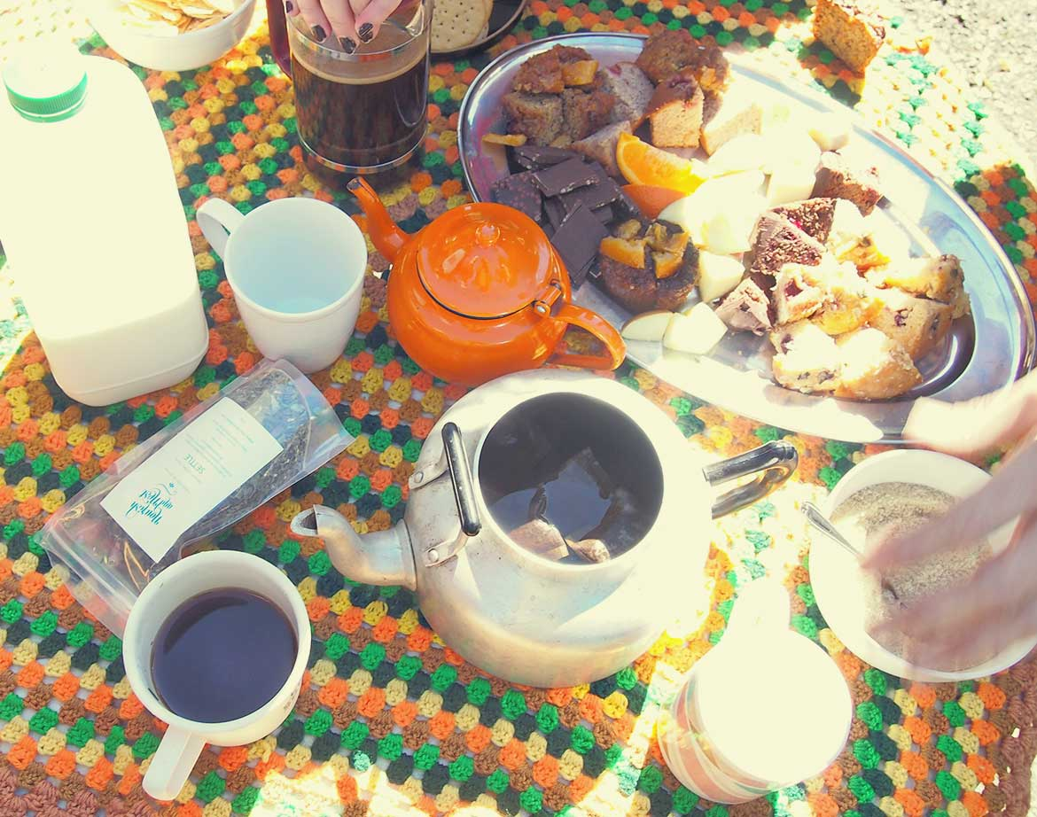 Afternoon tea picnic! Crochet blanket makes a gorgeous tablecloth.