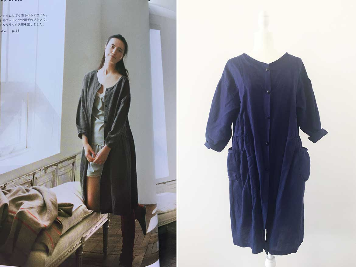 Shirt Dress made from linen, using sewing pattern from the Japanese sewing book, Simple Chic.