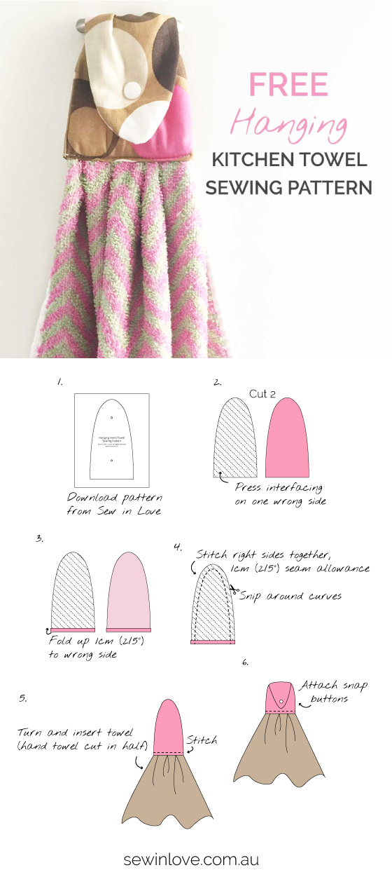 Free Sewing Pattern: Hanging Kitchen Hand Towel - This is the fastest and easiest way to make hanging towels for your kitchen. Use up those cute fabric scraps that are too good to throw out! You just need one hand towel to make two of these hanging towels. A snap button is the quickest but you can also use a sew on button to make one of these.