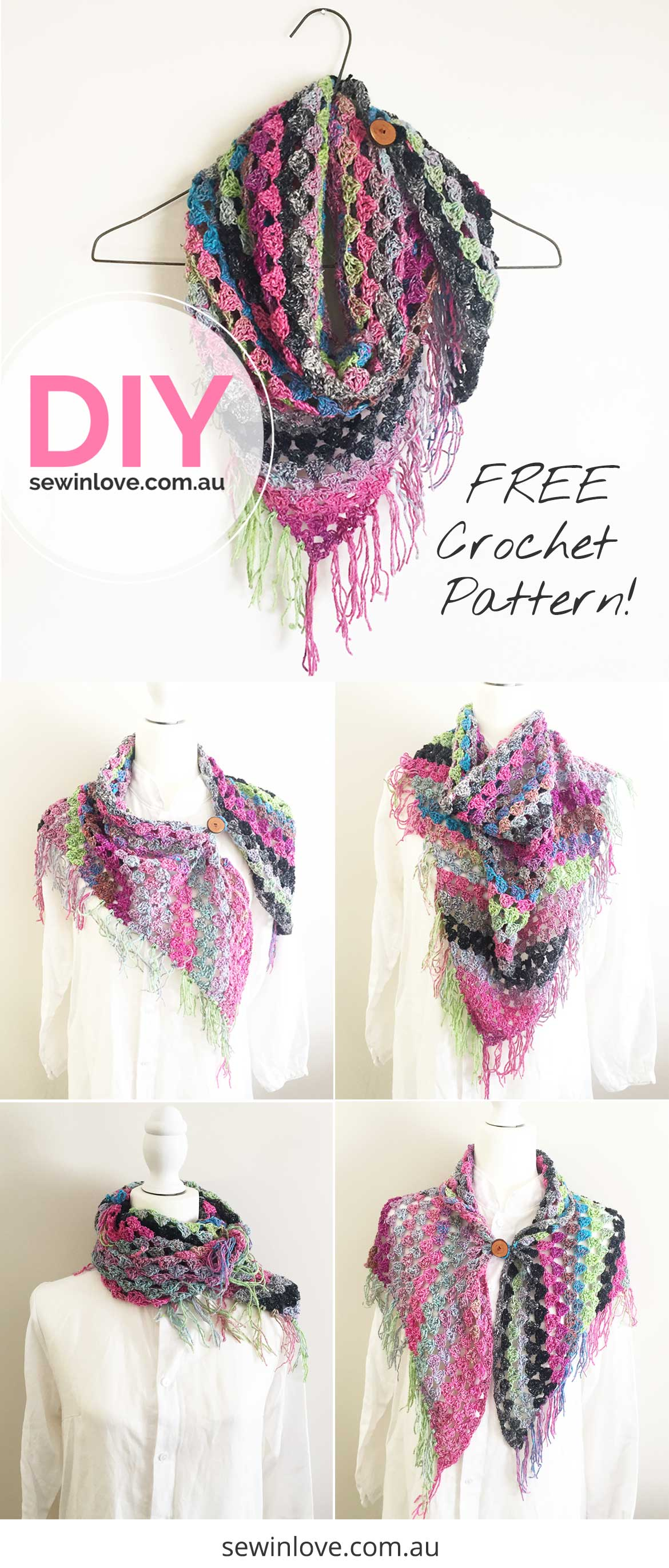 FREE Crochet Scarf Pattern: This easy scarf pattern includes a free video tutorial which shows you how to crochet. I made mine using Noro silk and wool yarn. This is a versatile piece with so many ways to wear it!