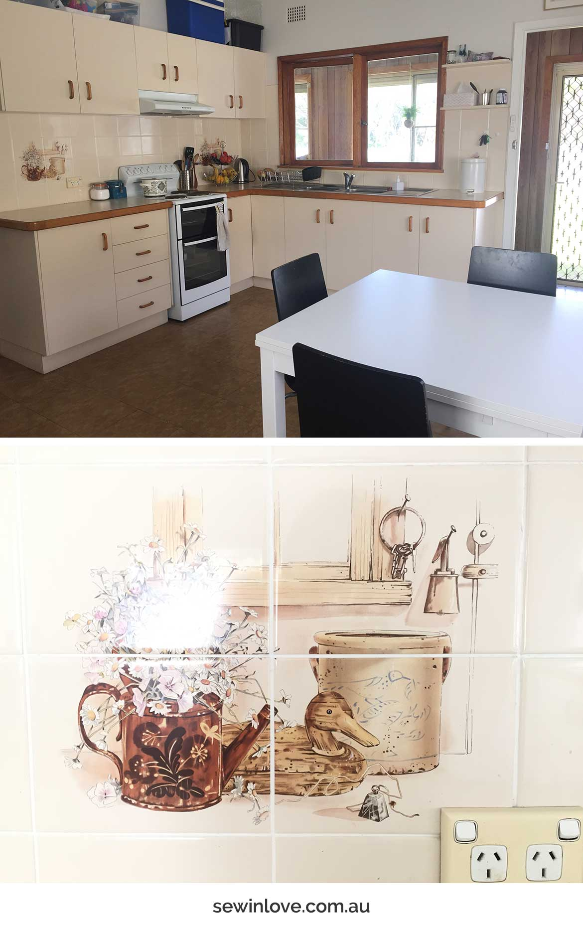 Take a look inside our 1950's beach cottage! The retro kitchen comes complete with ducks painted on the splashback tiles :)