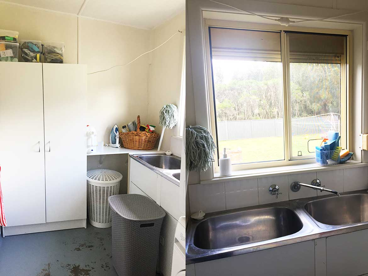Take a look inside our 1950's beach cottage! There's a little laundry with the ONLY built-in storage in the house.