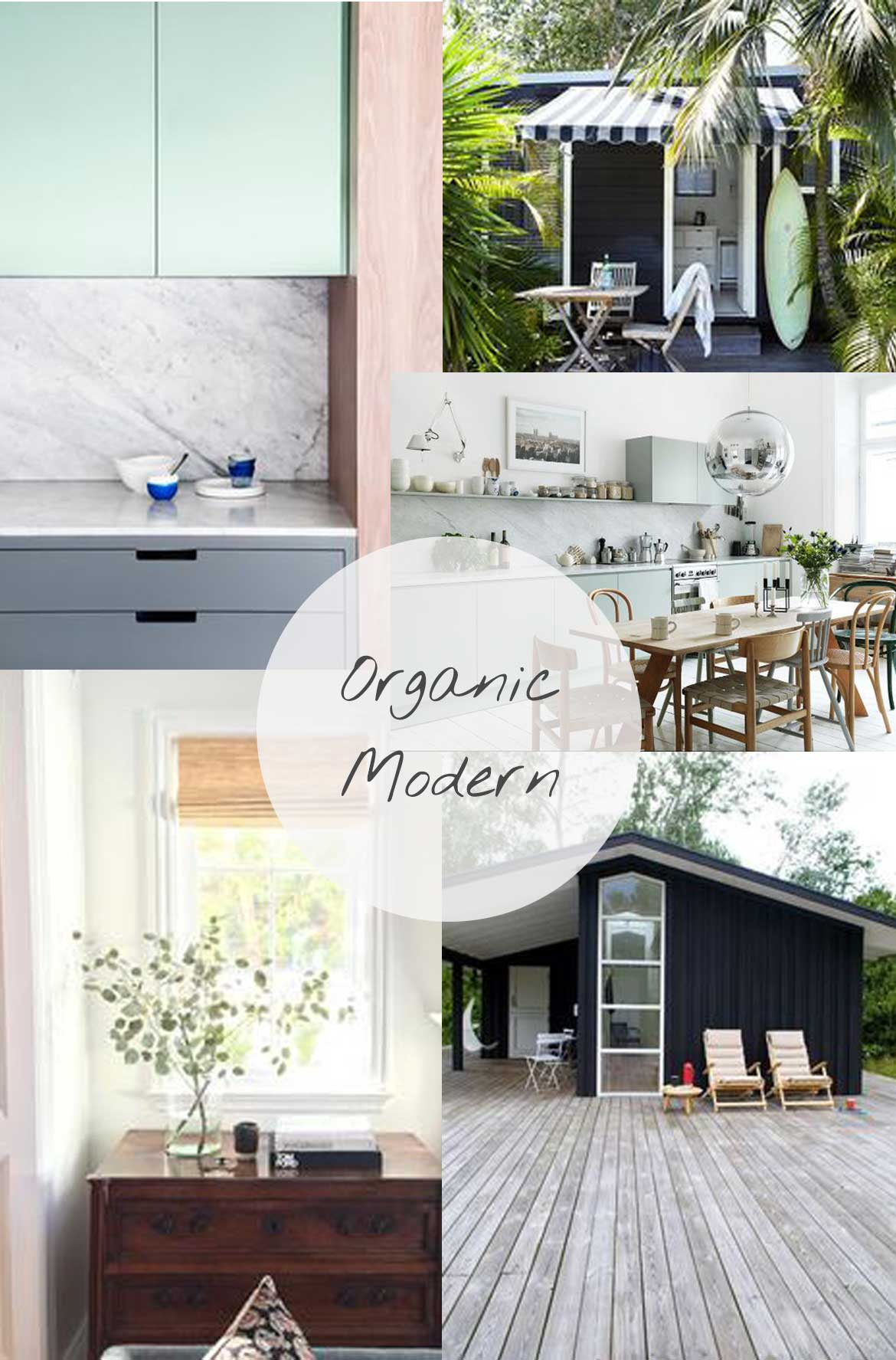 Organic Modern Decor   Mixing natural elements like wood, marble and greenery on a background on clean white. For me, organic modern also means adding warmth and patina with the use of vintage wooden furniture.