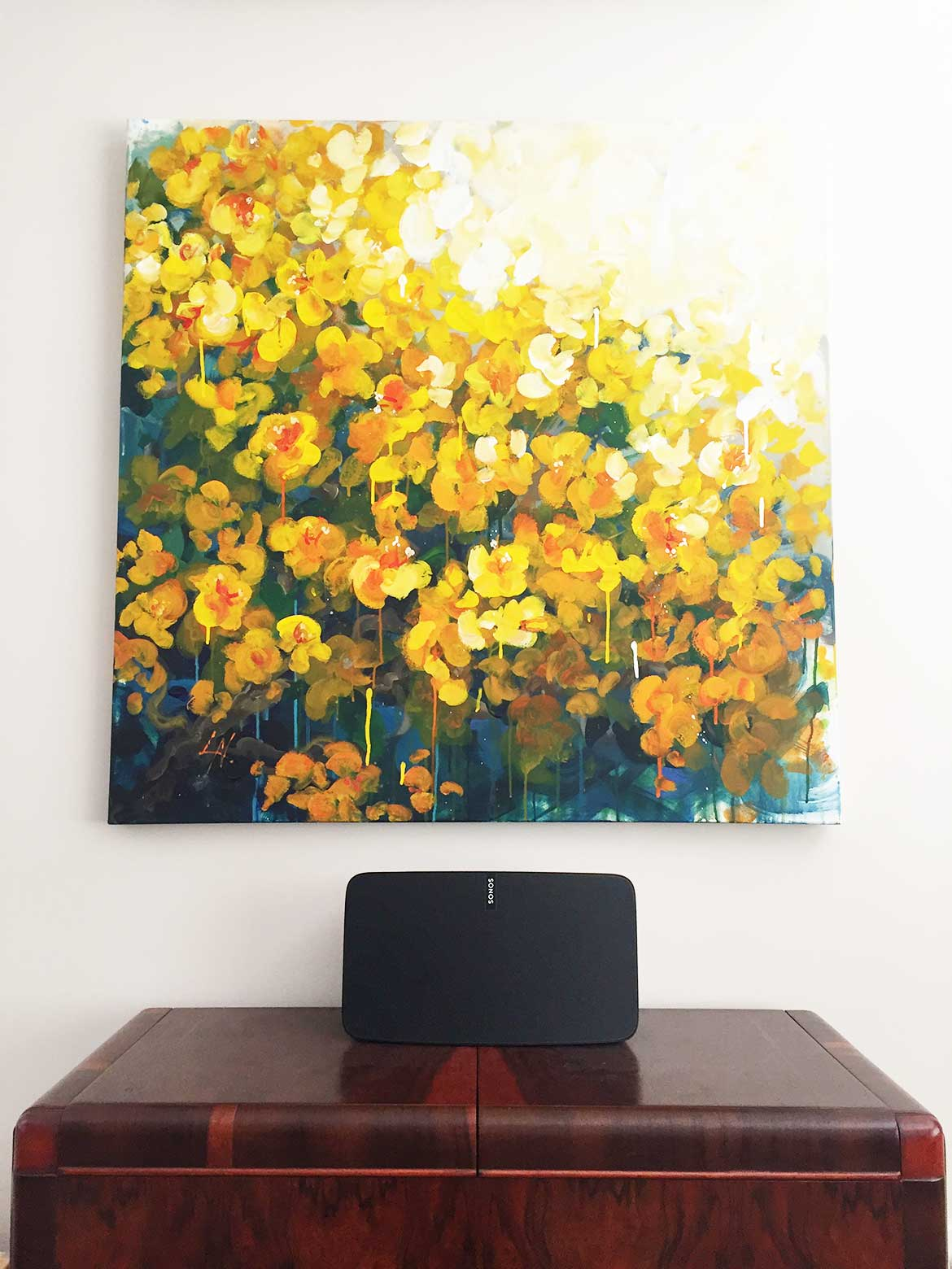 Beautiful original artwork by Australian artist hangs above our vintage wireless and SONOS speaker.