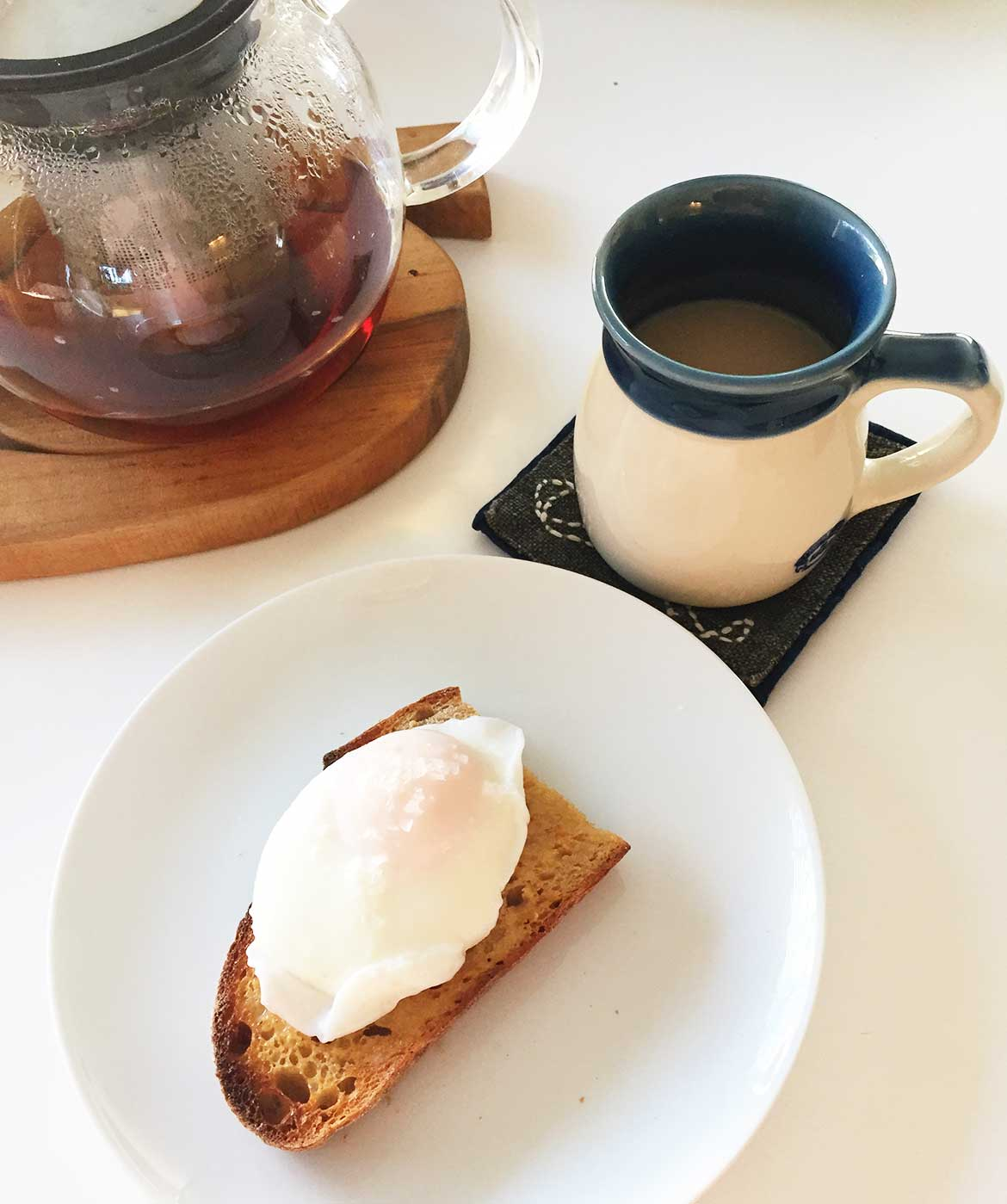 Low GI Breakfast - Living with gestational diabetes, I like to have homemade sourdough and a poached egg for breakfast.