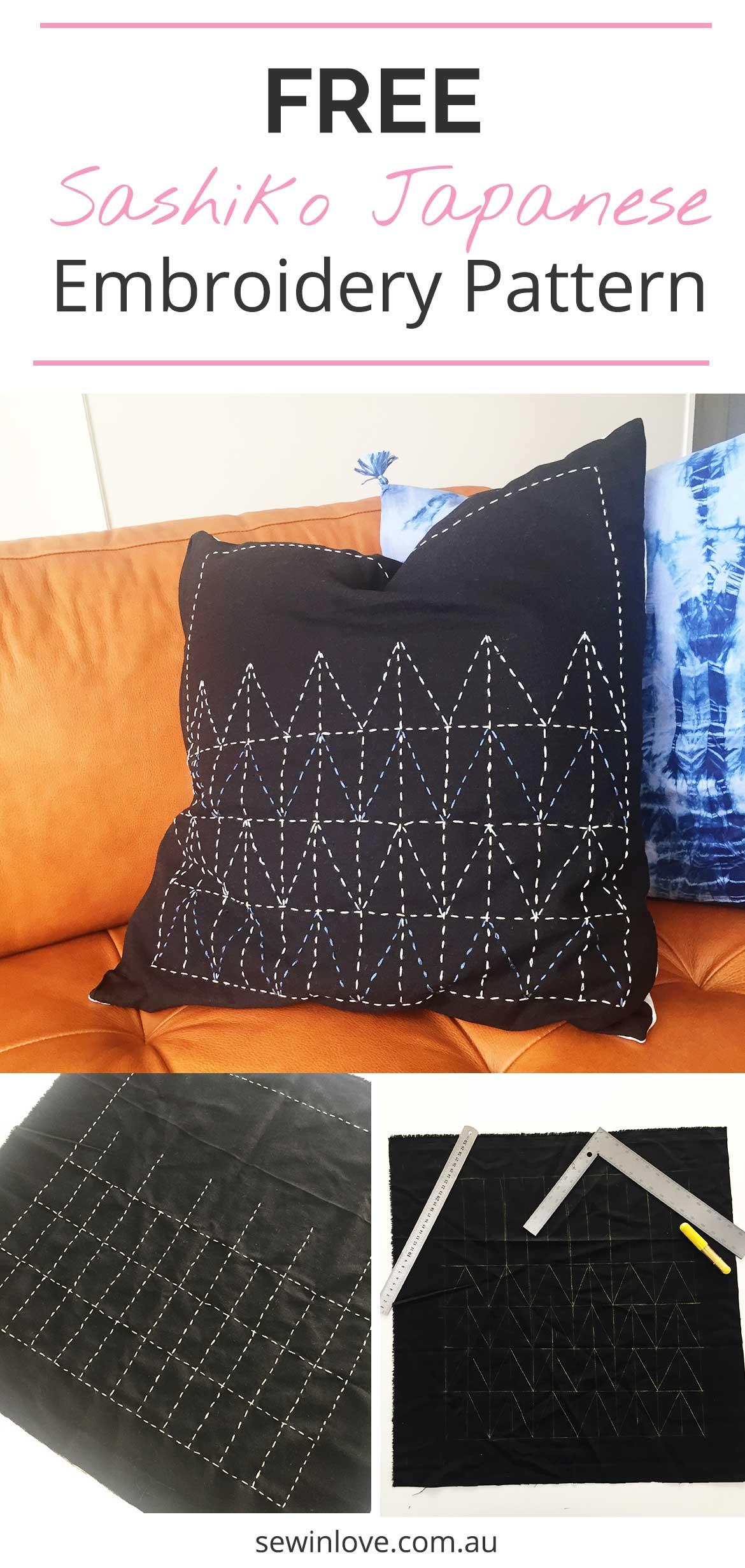 Free Sashiko Embroidery Pattern | Make a boho pillow cushion using the traditional Japanese embroidery method - sashiko. Get this free embriodery pattern!