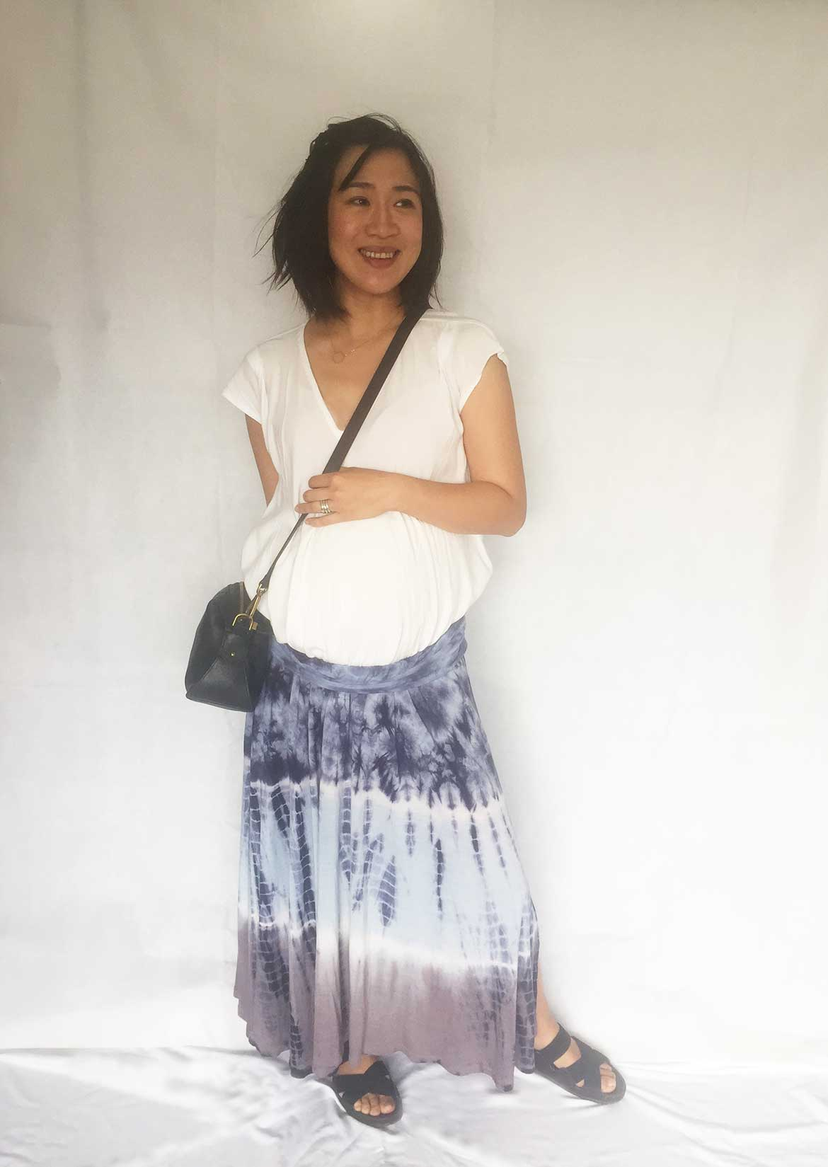 Maternity Outfit Ideas - Here are 3 ways to style the Koi drape front top from Hana Patterns.