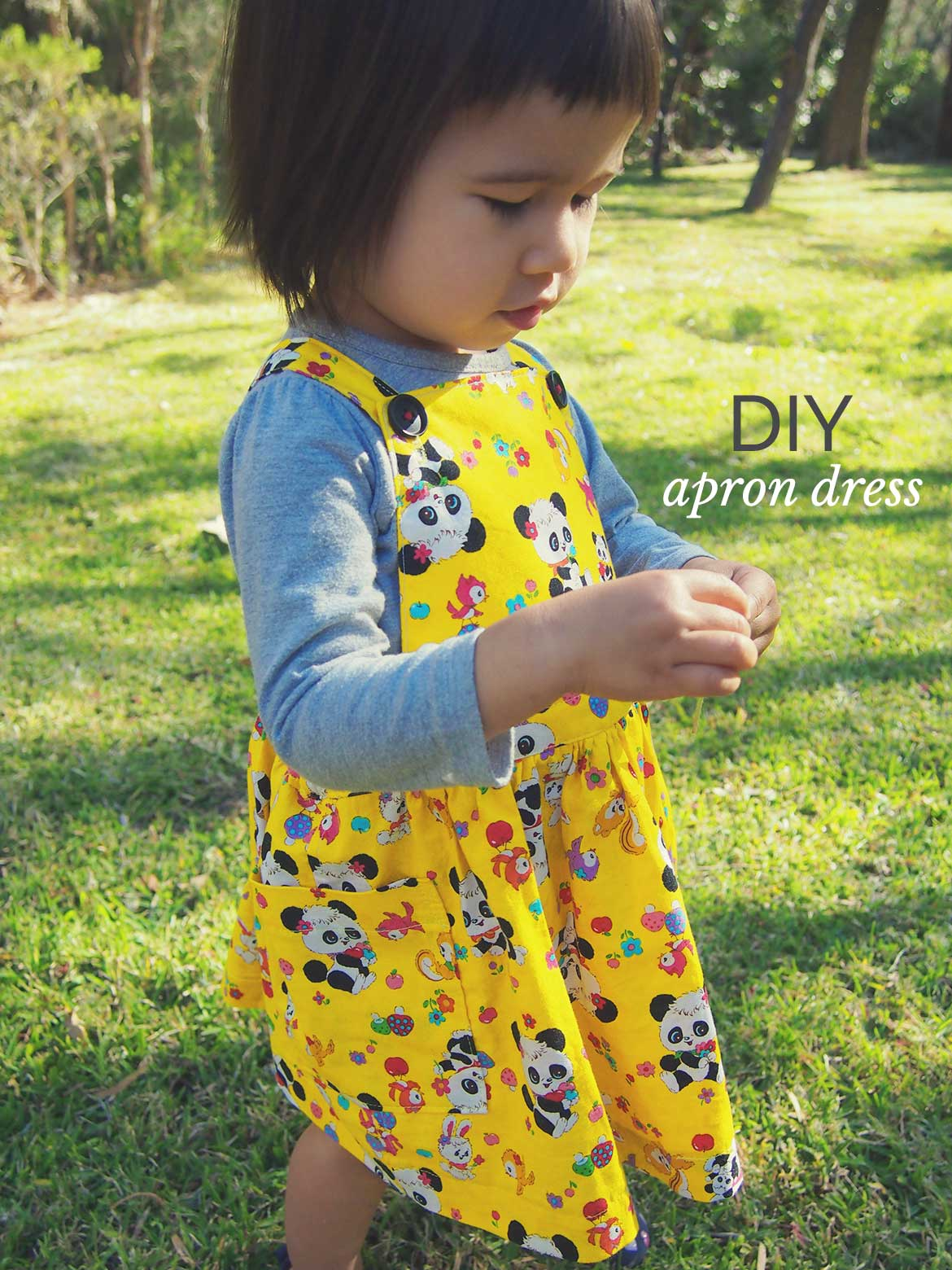 Retro panda print kids apron dress sewing pattern review sew kids apron dress sewing pattern this adorable pinafore apron dress is from the japanese sewing jeuxipadfo Images