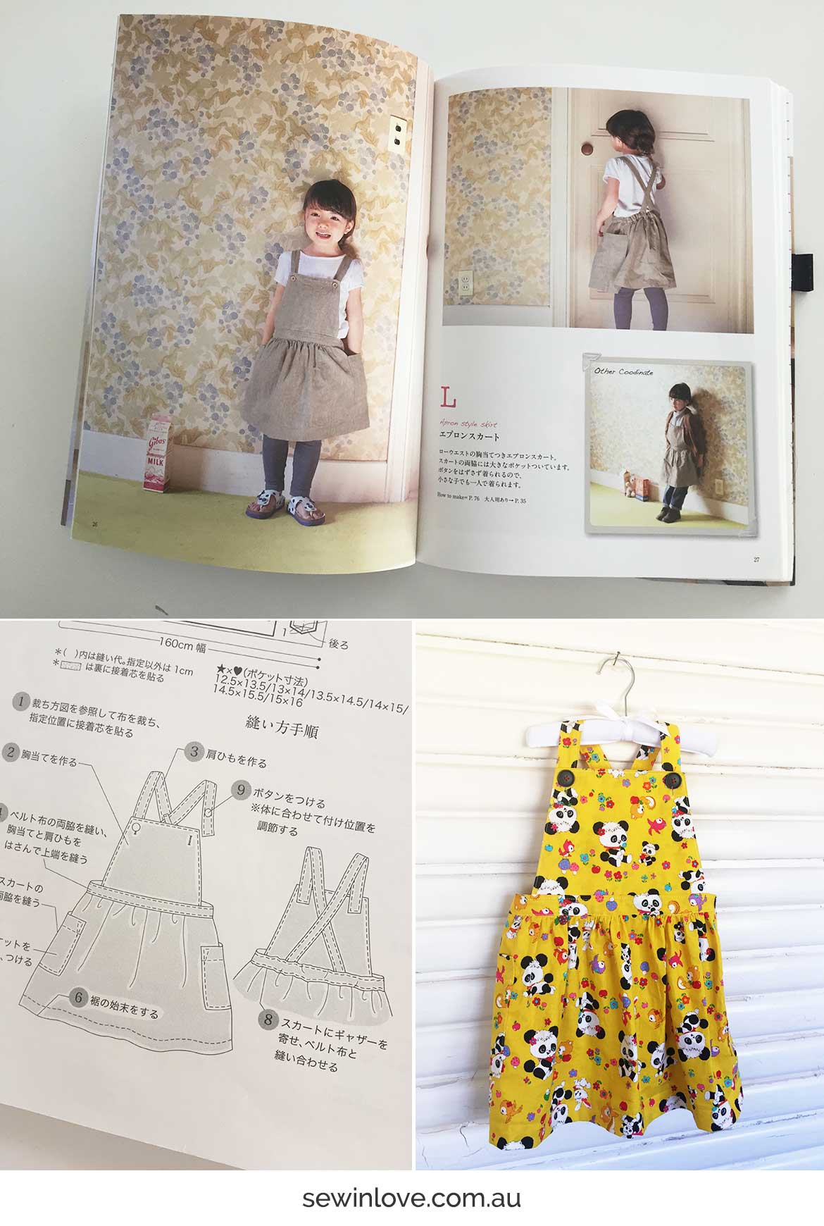 Retro Panda Print - Kids Apron Dress Sewing Pattern Review - Sew in Love