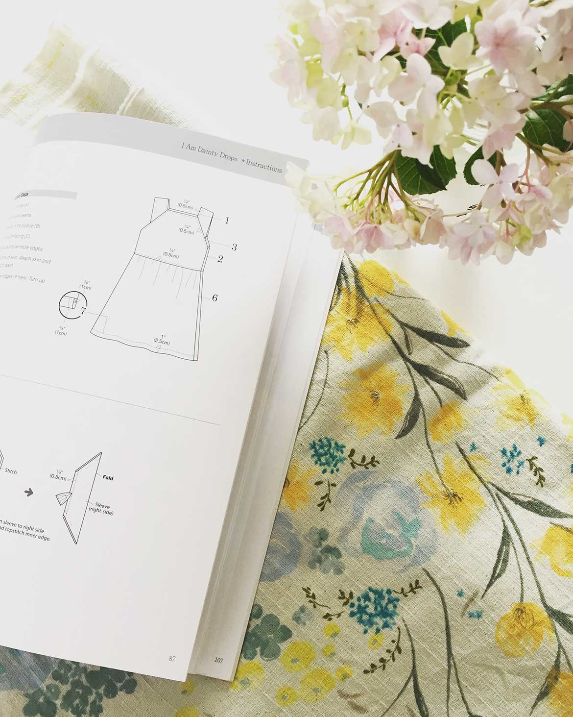 Japanese sewing pattern for a drop waist dress. I'll be making this with Nani-iro linen fabric in yellow and blue floral.