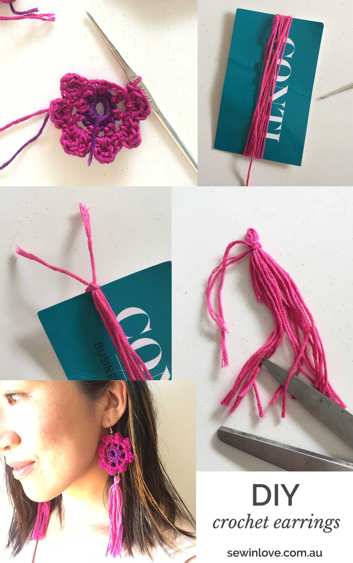 Easy Crochet Earrings Pattern | Crochet and tassels are the perfect match for these easy to make boho earrings.