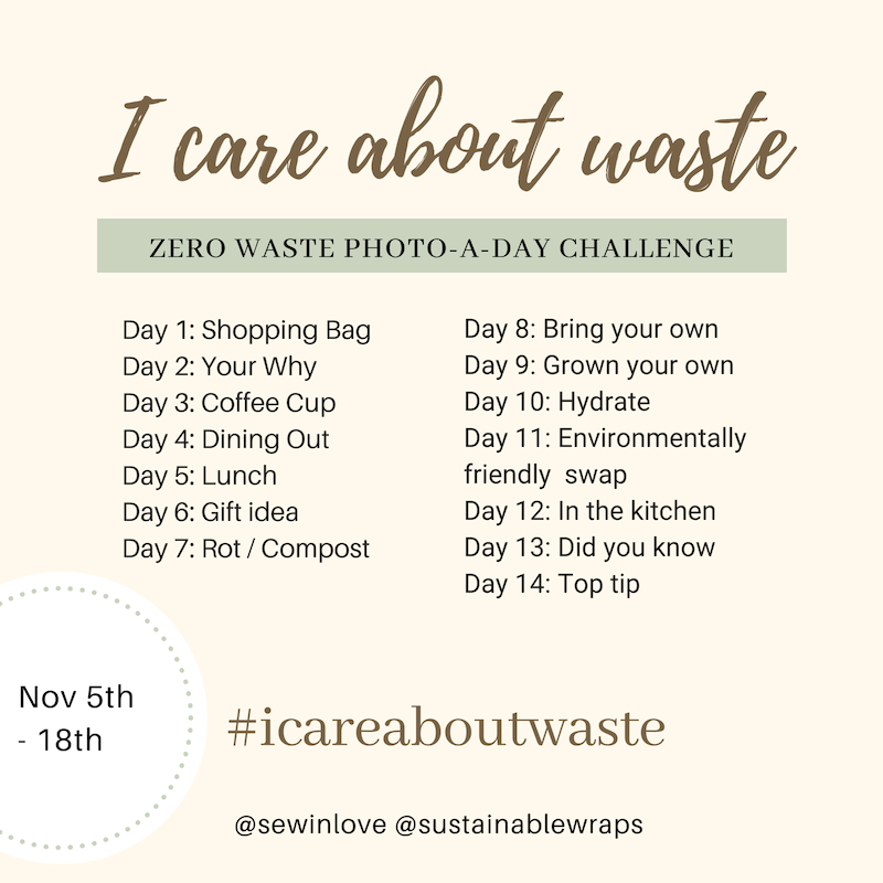 Zero Waste Living Instagram Challenge! Join the photo-a-day challenge to show you care about reducing landfill and making our planet a greener place. If you care about zero waste living, zero waste diy, zero waste australia and zero waste lifestyle, then you will love being part of this instagram challenge. More info at www.sewinlovecom.au