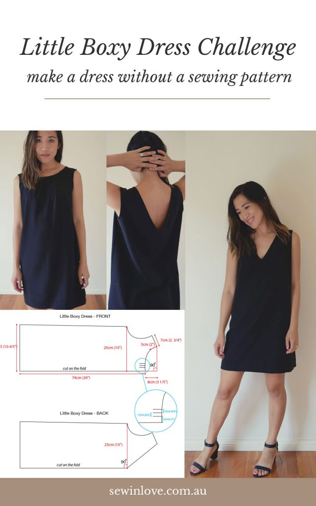 Join the free Little Boxy Dress Sewing Challenge! You'll learn how to make a dress without a sewing pattern. This gorgeous, reversible shift dress is super easy to make and the video tutorials will help you get it finished. More info at https://www.sewinlove.com.au/2019/03/07/how-to-make-a-dress-without-a-pattern/