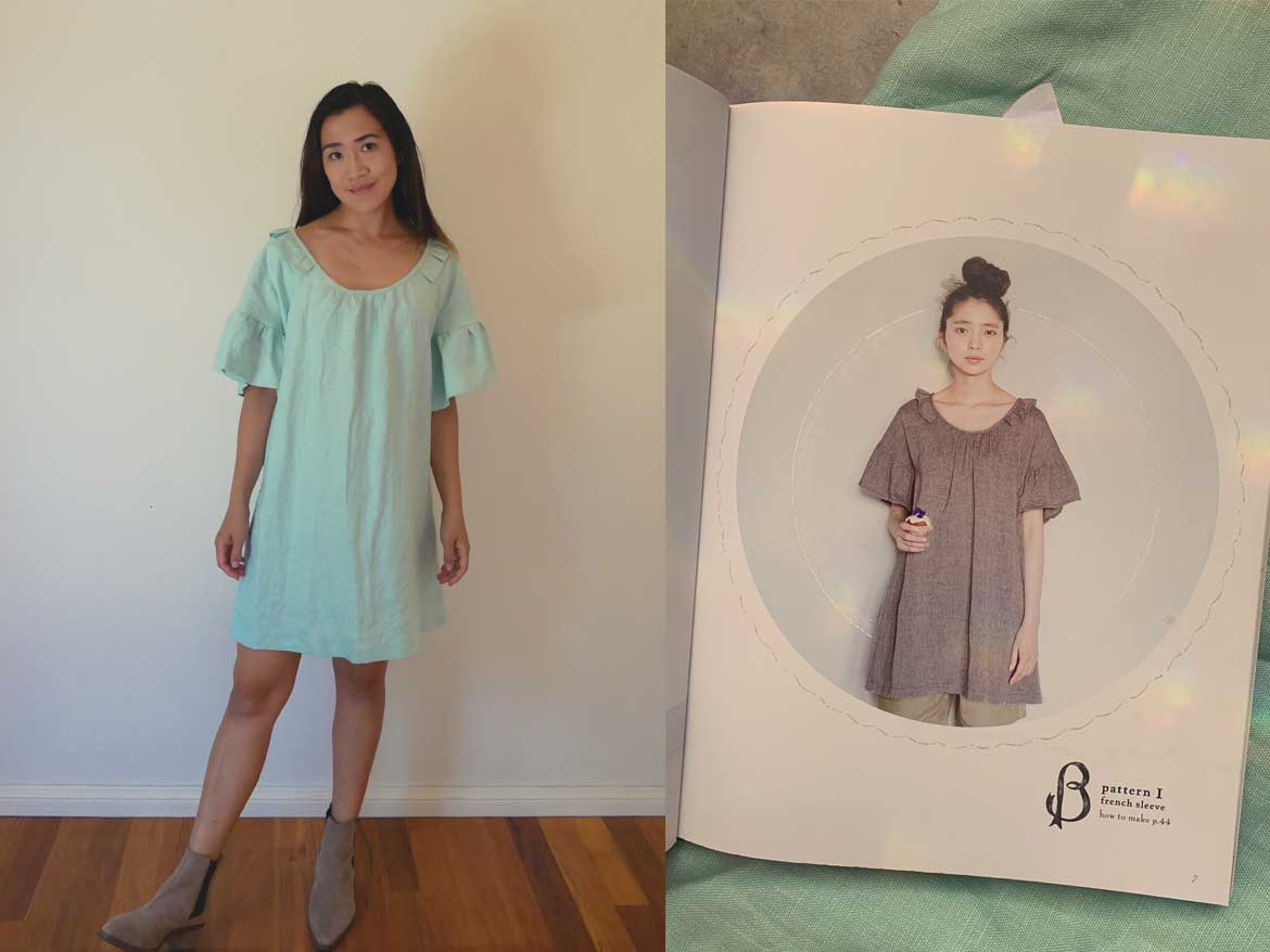 Simple linen dress from a Japanese sewing pattern. Sweet Dress Book by Yoshiko Tsukiori. If you are looking for linen sewing patterns, you should take a look at this book! Read all about it at www.sewinlove.com.au