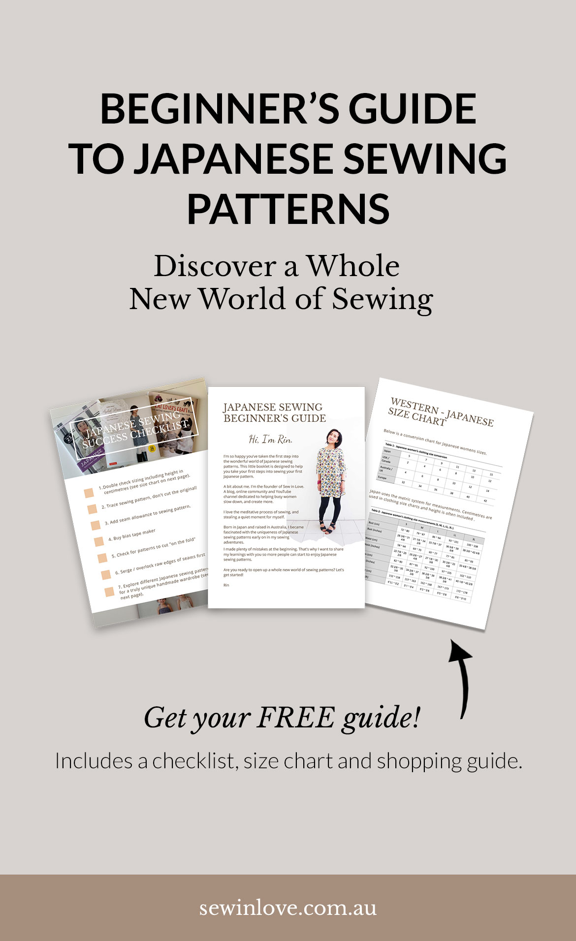 Free Japanese Sewing Patterns Beginner's Guide - Curious but confused about sewing Japanese patterns? Get the free guide to help you avoid costly mistakes. It includes a checklist, shopping guide and a size conversion chart. Get the guide at https://www.sewinlove.com.au/2019/09/03/mistakes-beginners-japanese-sewing-patterns/