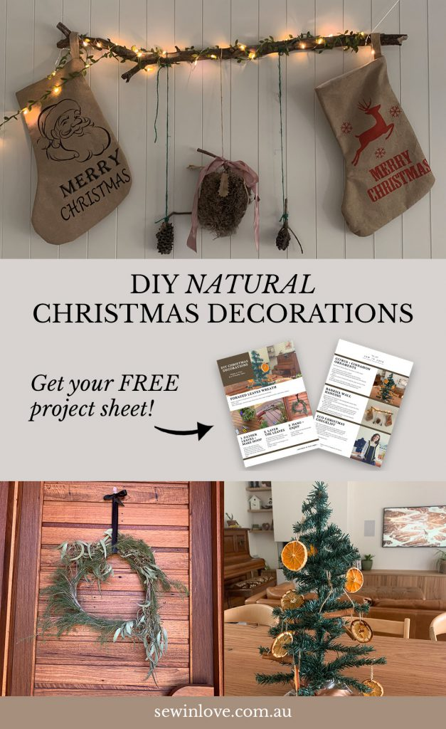 DIY Natural and Rustic Christmas Decorations | make ornaments, wall hangings and other decorations for Christmas using zero waste, natural and rustic materials. Download your free project sheet with materials list and instructions here: www.sewinlove.com.au