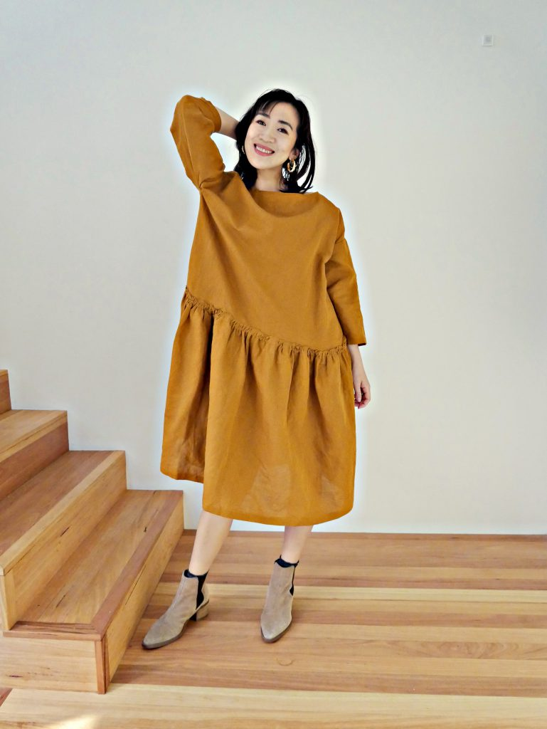 Japanese linen drop waist dress from a Japanese sewing pattern book. See more photos at https://www.sewinlove.com.au/
